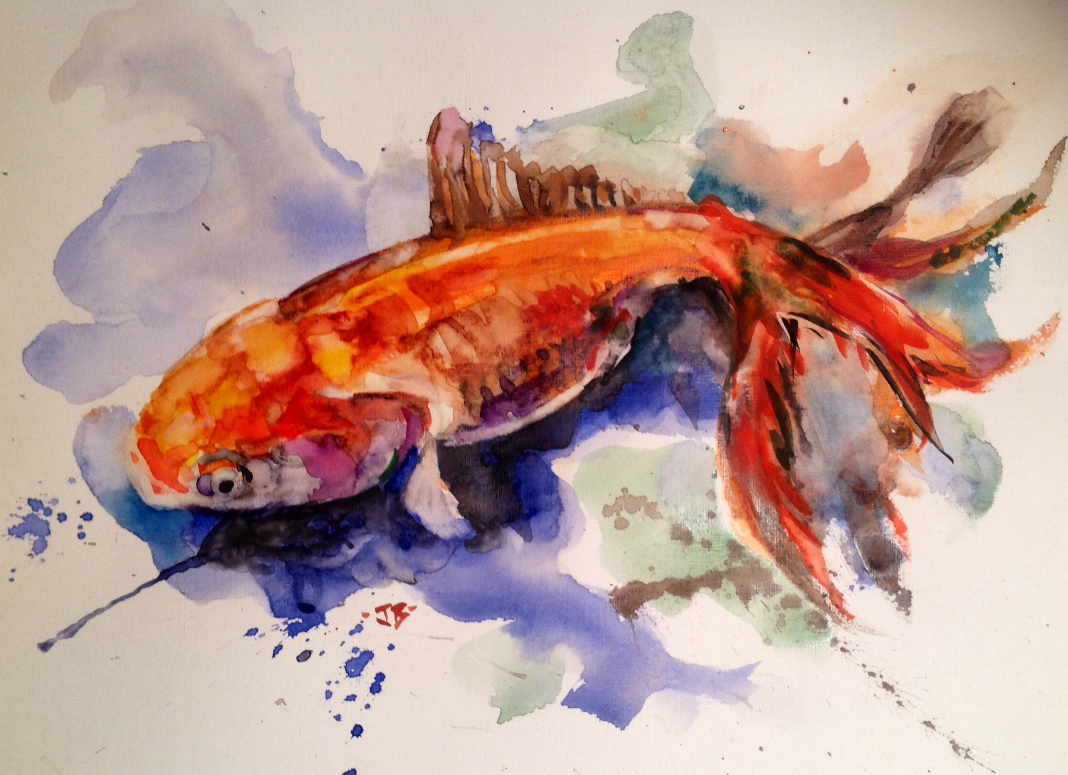 """Koi"""", 14″ x 11″, Watercolor on Paper (SOLD) 